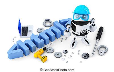 ritaglio, concept., contiene, isolato, robot, fondo., html, percorso, bianco, tecnologia, segno.