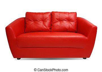 ritaglio, divano, isolato, fondo, percorso, bianco rosso