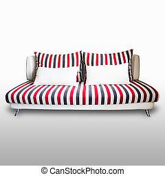ritaglio, divano, moderno, isolato, fondo, bianco, path.
