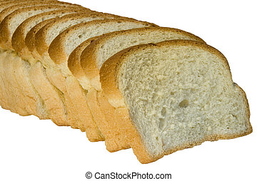ritaglio, fette, isolato, fondo, percorso, pane bianco