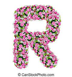 ritaglio, fiore, alfabeto, isolato, r, percorso, bianco