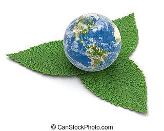 ritaglio, globo, leaves., percorso, immagine, 3d