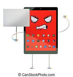 ritaglio, illustration., tavoletta, banner., arrabbiato, contiene, carattere, vuoto, percorso, cartone animato, 3d