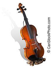 ritaglio, isolato, fondo., percorso, violino, bianco