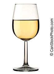 ritaglio, isolato, vetro, percorso, vino bianco