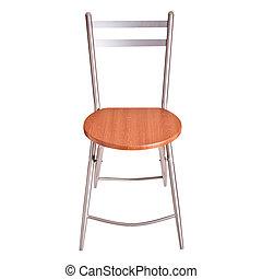 ritaglio, legno, bianco, isolato, percorso, sedia, rotondo, fondo