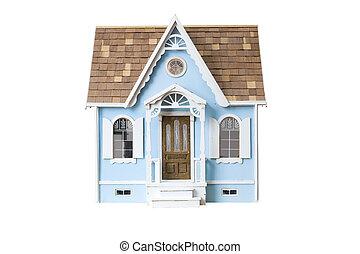 ritaglio, legno, dollhouse, isolato, dall'aspetto,...