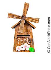ritaglio, legno, fatto mano, isolato, cassetta postale, percorso, sfondo bianco