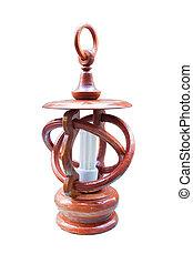 ritaglio, legno, isolato, retro, fondo, percorso, bianco, lanterna