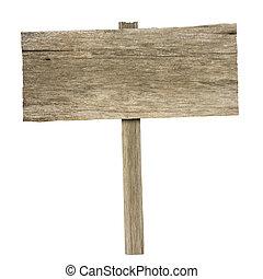 ritaglio, legno, isolato, segno, fondo, percorso, bianco