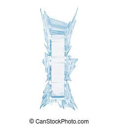 ritaglio, lettera, ghiaccio, case.with, cristallo, i.upper,...