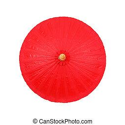 ritaglio, ombrello, fatto mano, fondo, percorso, bianco rosso