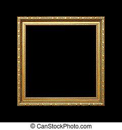 ritaglio, oro, cornice, isolato, sfondo nero, percorso