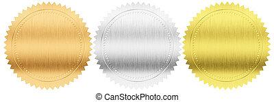 ritaglio, set, isolato, sigilli, medaglie, argento, included, percorso, oro, o, bronzo