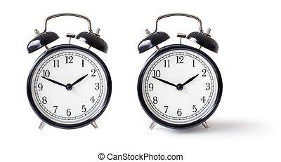 ritaglio, set, orologio, allarme, isolato, included, percorso