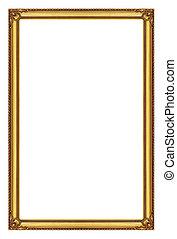 ritaglio, sfondo dorato, percorso, isolato, cornice, bianco
