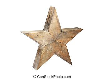 ritaglio, stella, legno, isolato, fondo, percorso, bianco