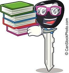 ritaglio, studente, automobile, carattere, libro, chiave, percorso