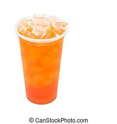 ritaglio, tè, prugna, isolato, ghiaccio, vetro, fondo,...