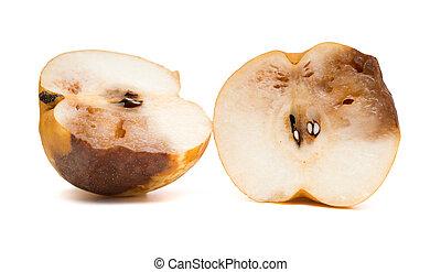 ritaglio, taglio, mela, marcio, fondo, percorso, bianco fuori
