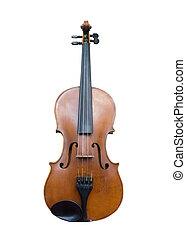 ritaglio, vecchio, isolato, white., percorso, violino