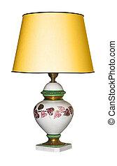 ritaglio, vendemmia, isolato, lampada, fondo, tavola, percorso, bianco