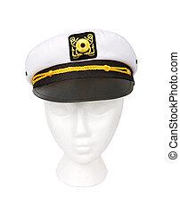 ritaglio, yacht, isolato, percorso, capitano, cappello