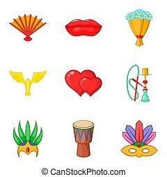 Rite icons set, cartoon style - Rite icons set. Cartoon set...
