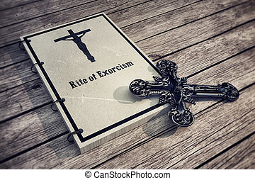 Rite of exorcism - 3d Illustration of an exorcism book on...