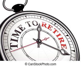 ritirare, concetto, orologio tempo
