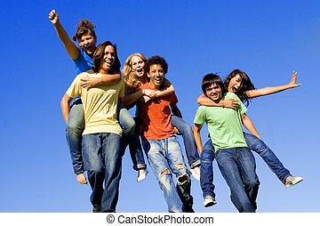 ritje op de rug, hardloop, van, anders, tieners