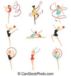 ritmico, addestramento, ginnasti, differente, apparato