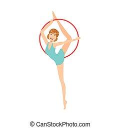 ritmico, blu, apparato, sportiva, compiendo, elemento, ginnastica, professionale, vestire, cerchio