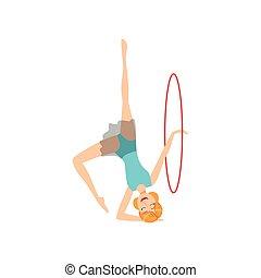 ritmico, blu, apparato, sportiva, compiendo, elemento, leotard, ginnastica, professionale, cerchio