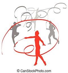 ritmico, concetto, vincitore, isolato, vettore, donna, ginnastica, fondo, nastro