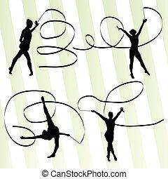 ritmico, donna, vettore, ginnastica, fondo, nastro