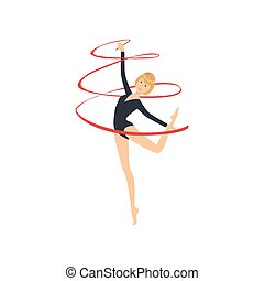 ritmico, leotard, apparato, manica, sportiva, compiendo, lungo, elemento, ginnastica, professionale, nero, nastro
