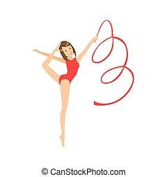 ritmico, leotard, apparato, sportiva, compiendo, elemento, ginnastica, rosso, professionale, nastro