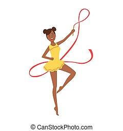 ritmico, leotard, apparato, sportiva, compiendo, giallo, elemento, ginnastica, professionale, nastro, nero