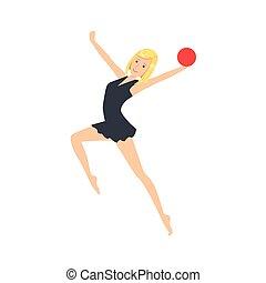 ritmico, leotard, palla, apparato, sportiva, compiendo, elemento, ginnastica, professionale, nero