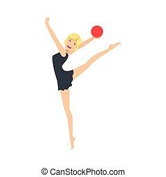 ritmico, palla, apparato, sportiva, compiendo, elemento, ginnastica, biondo, professionale, vestire, nero