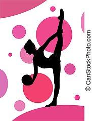 ritmico, palla, silhouette, sopra, ginnastica, fondo, esercizi, ragazza, astratto