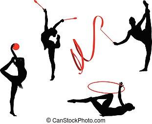 ritmico, silhouette, 2, ginnastica