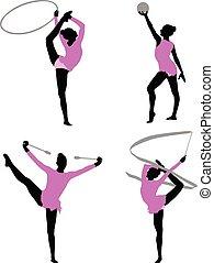 ritmico, silhouette, ginnastica