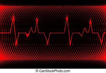 ritmo coração, arrojado, coloridos, normal, record., luminoso, desenho, human, sinus, electrocardiograma