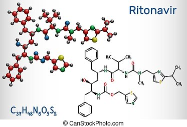Ritonavir, C37H48N6O5S2 molecule. It is an antiretroviral protease inhibitor, used in therapy of human immunodeficiency virus HIV infection and acquired immunodeficiency syndrome AIDS, 2019-ncov. Vector illustration