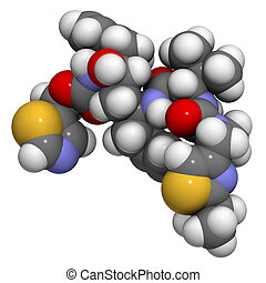 Ritonavir HIV drug (protease inhibitor class), chemical structure. Atoms are represented as spheres with conventional color coding: hydrogen (white), carbon (grey), nitrogen (blue), oxygen (red), sulfur (yellow).