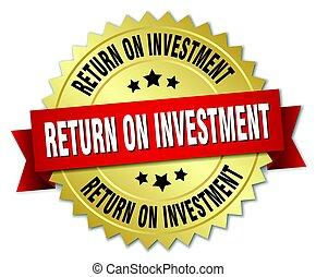 ritorno, oro, isolato, rotondo, distintivo, investimento