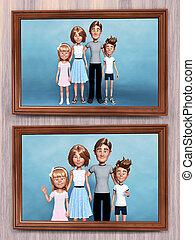 ritratti famiglia, due, wall., interpretazione, cartone animato, 3d