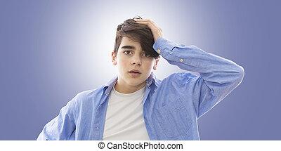 ritratto, adolescente, espressione, sorpresa